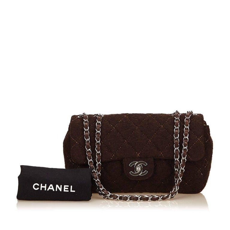 Brown Chanel Matelasse Quilted Wool Flap Bag 9
