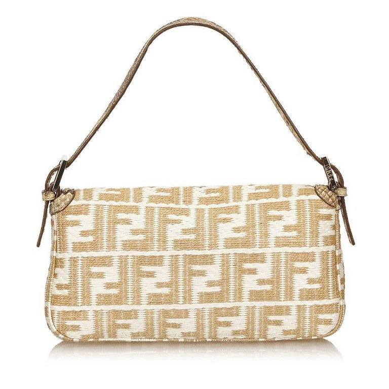 59402ee1398 Tan & White Fendi Python-Trimmed Zucca Baguette Bag In Good Condition For Sale  In