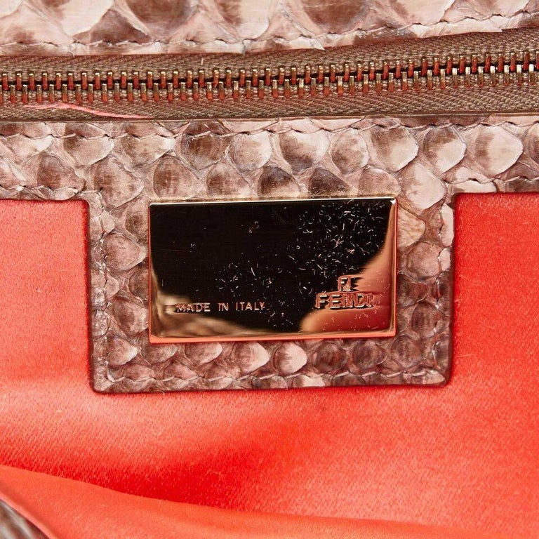 2df590a231a Tan and White Fendi Python-Trimmed Zucca Baguette Bag For Sale at ...
