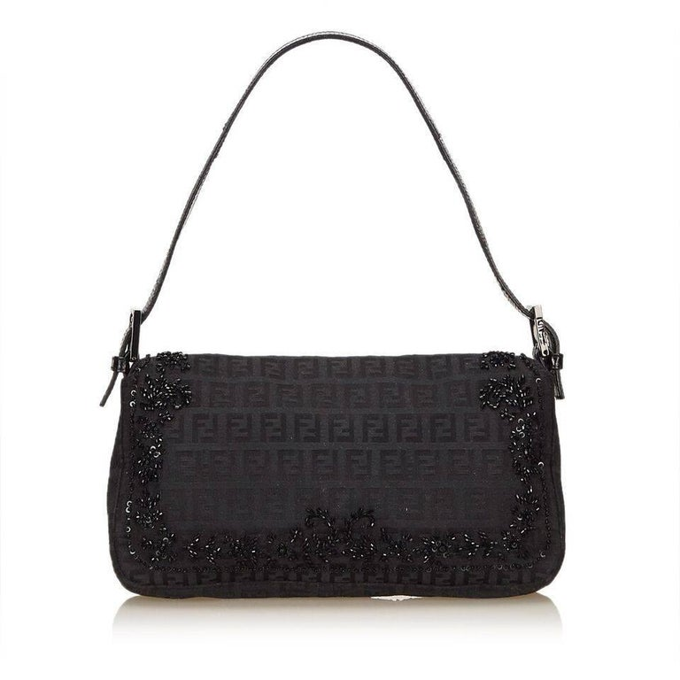 Black Fendi Beaded Zucchino Baguette Bag In Good Condition In New York, NY
