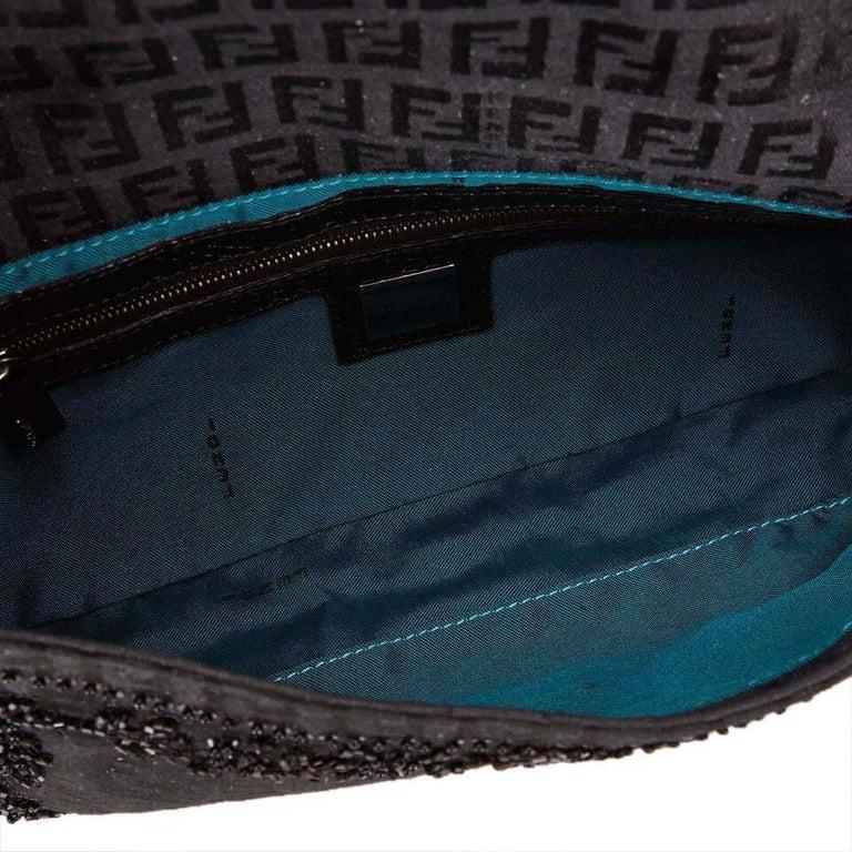 Black Fendi Beaded Zucchino Baguette Bag 1