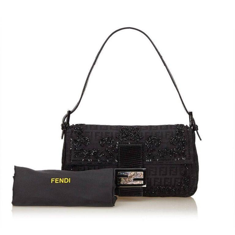 Black Fendi Beaded Zucchino Baguette Bag 6