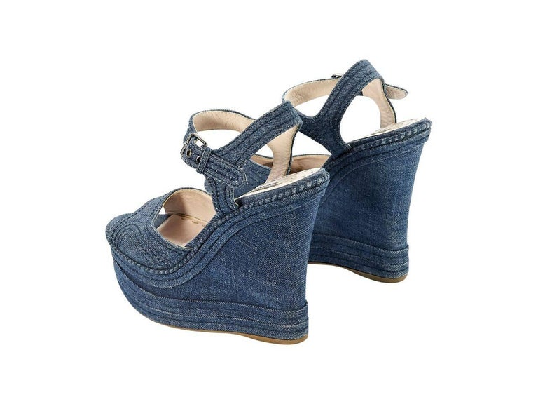 c89a4c8916ae Blue Miu Miu Denim Wedge Sandals In Excellent Condition For Sale In New  York
