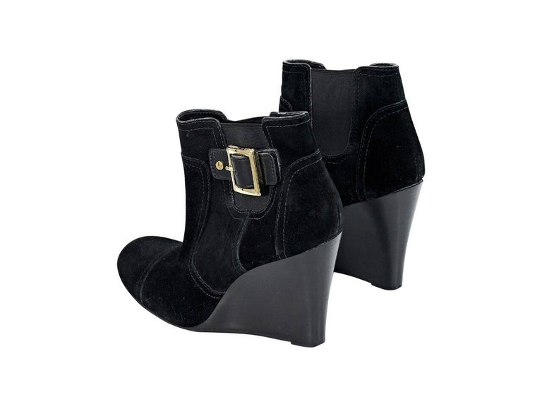 9acc5d558cd Black Tory Burch Suede Wedge Ankle Boots In Excellent Condition For Sale In  New York
