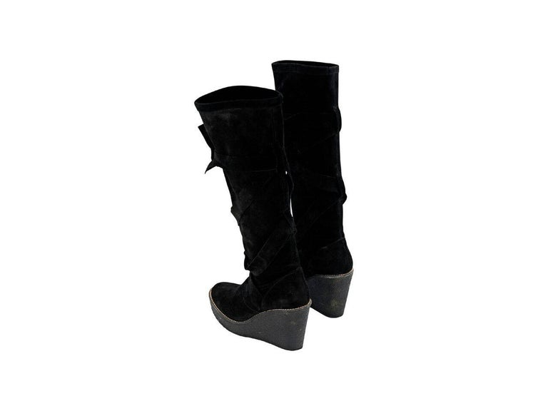 Black Robert Clergerie Suede Wedge Boots In Excellent Condition For Sale In New York, NY