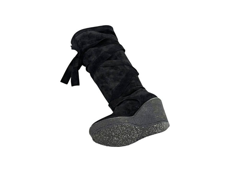 Women's Black Robert Clergerie Suede Wedge Boots For Sale