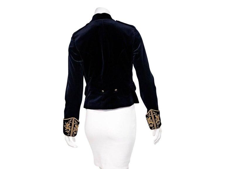 Black Navy Blue & Gold Ralph Lauren Velvet Blazer For Sale