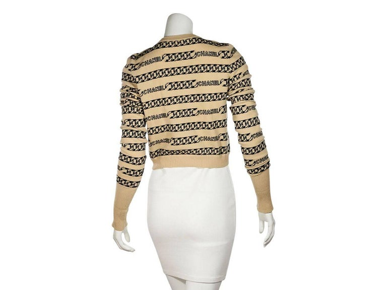 Tan & Black Vintage Chanel Striped Cardigan 3