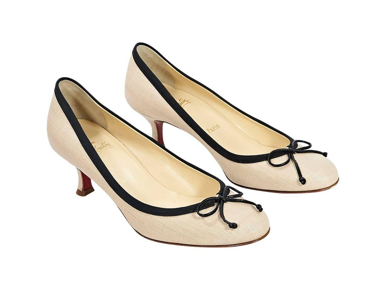 88f4c4b1dd2 ... new zealand product details tan canvas kitten heel pumps by christian  louboutin. black grosgrain topline