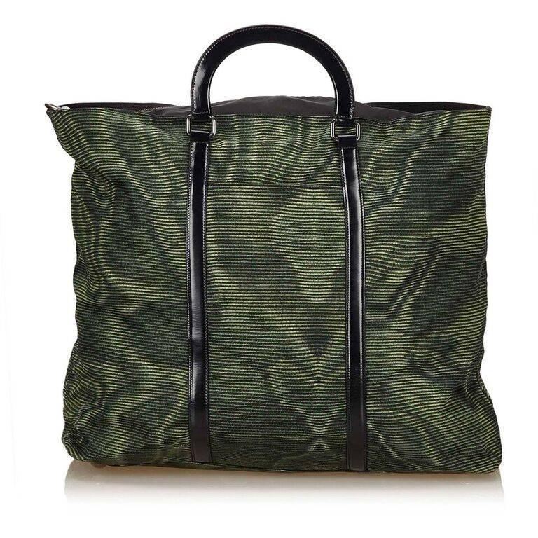 b881828df450 ... ebay green black prada nylon tote bag in good condition for sale in new  york 09445