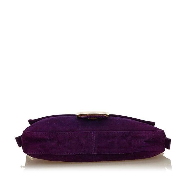 Women's Purple Fendi Nubuck Leather Baguette Bag