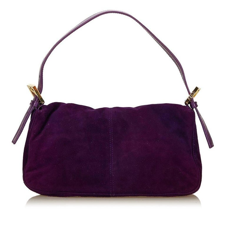 Purple Fendi Nubuck Leather Baguette Bag In Good Condition In New York, NY