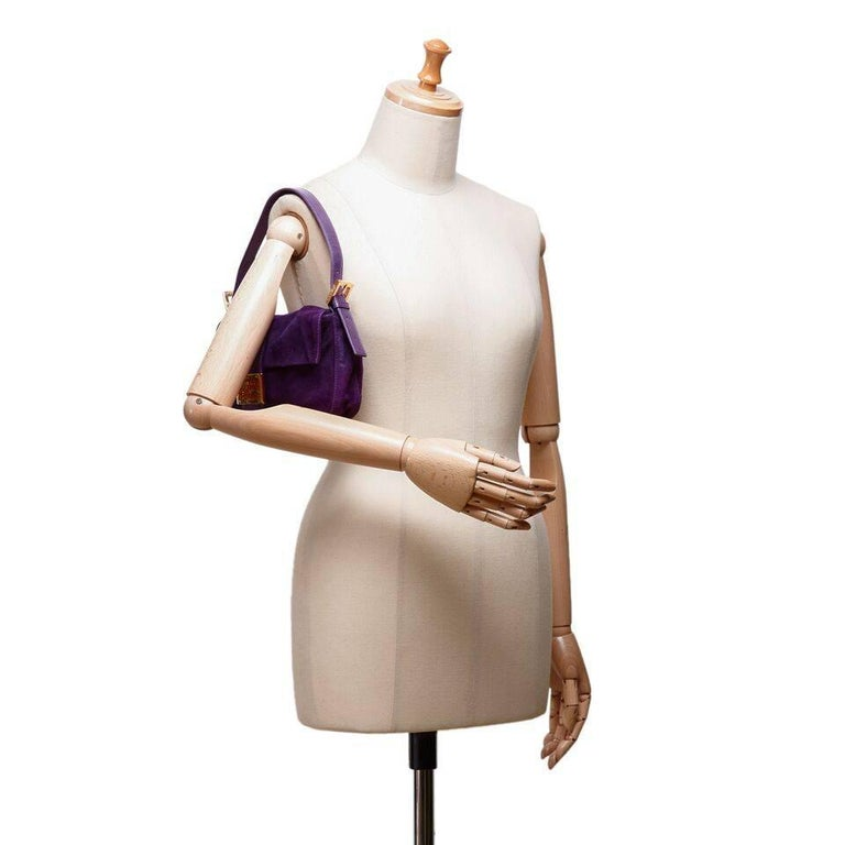 Purple Fendi Nubuck Leather Baguette Bag 5