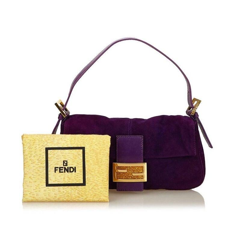 Purple Fendi Nubuck Leather Baguette Bag 6