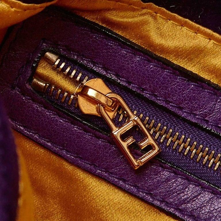 Purple Fendi Nubuck Leather Baguette Bag 4