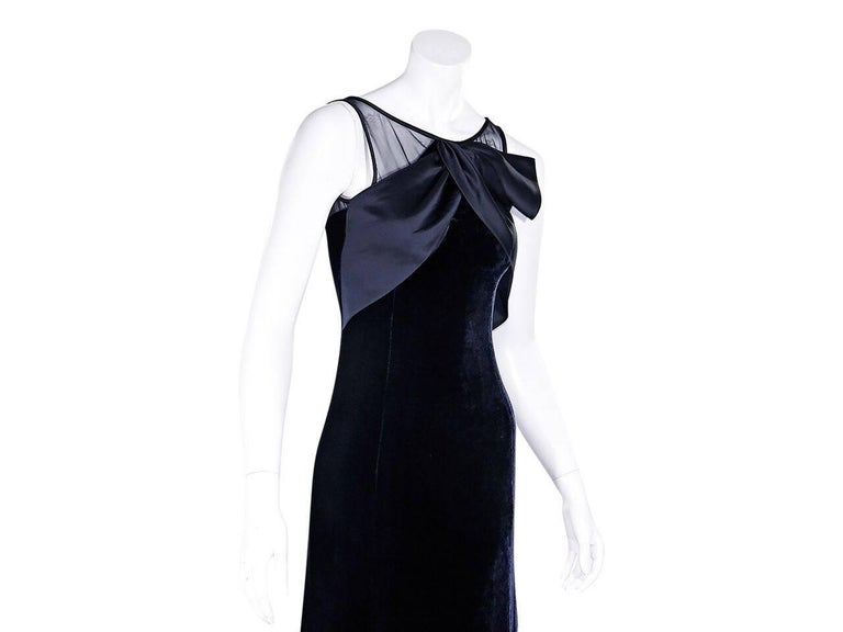Navy Blue Armani Collezioni Velvet Gown In New Condition For Sale In New York, NY