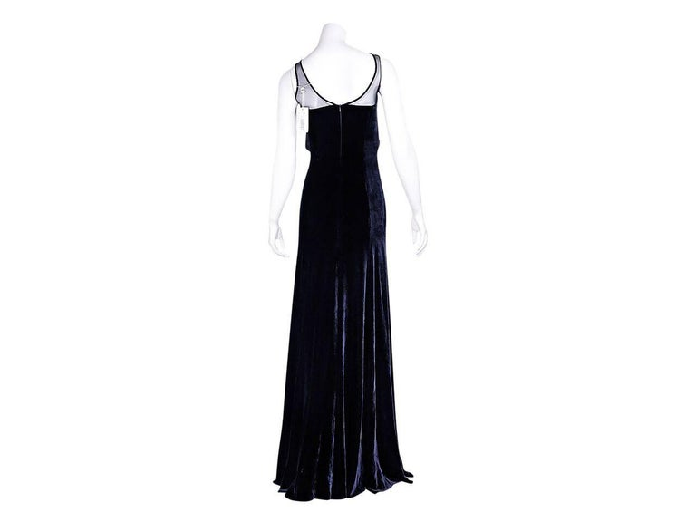 Black Navy Blue Armani Collezioni Velvet Gown For Sale