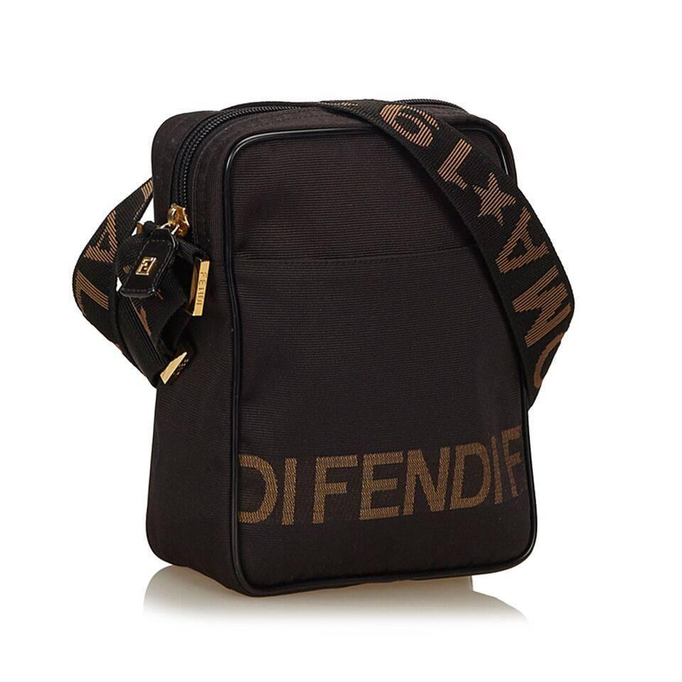 ... top quality product details brown nylon crossbody bag by fendi. top zip  closure. lined ... 6f02ed8bbfa71