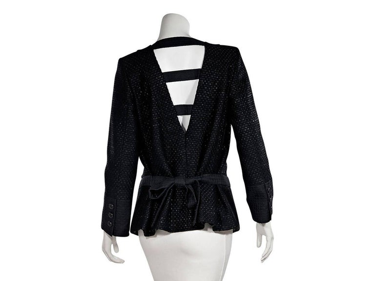 Chanel Black Lattice Double-Breasted Jacket In New never worn Condition For Sale In New York, NY