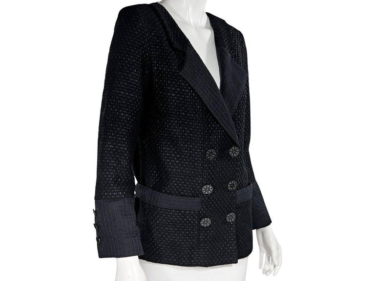 Women's Chanel Black Lattice Double-Breasted Jacket For Sale
