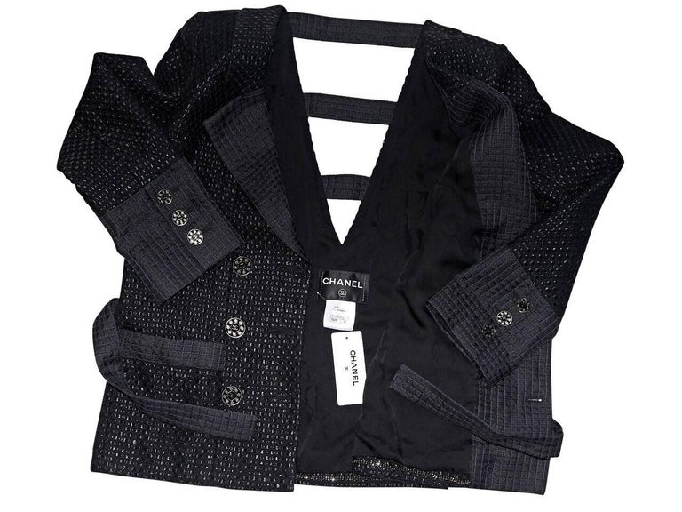 Chanel Black Lattice Double-Breasted Jacket For Sale 1