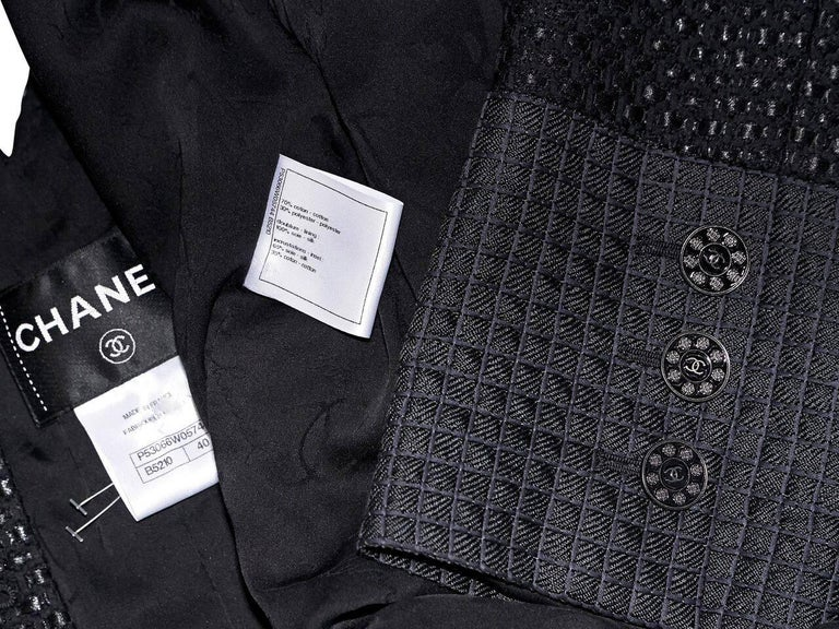 Chanel Black Lattice Double-Breasted Jacket For Sale 2