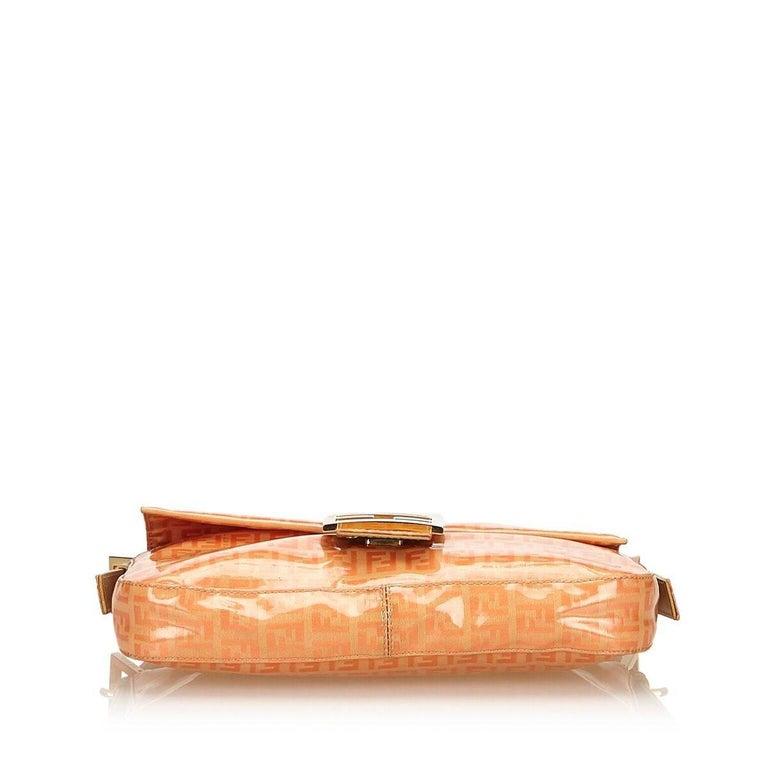 Orange Fendi Zucchino Mama Baguette Bag In Good Condition In New York, NY