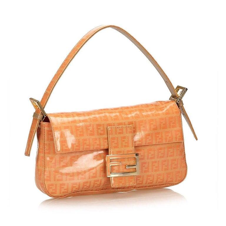 Orange Fendi Zucchino Mama Baguette Bag 4