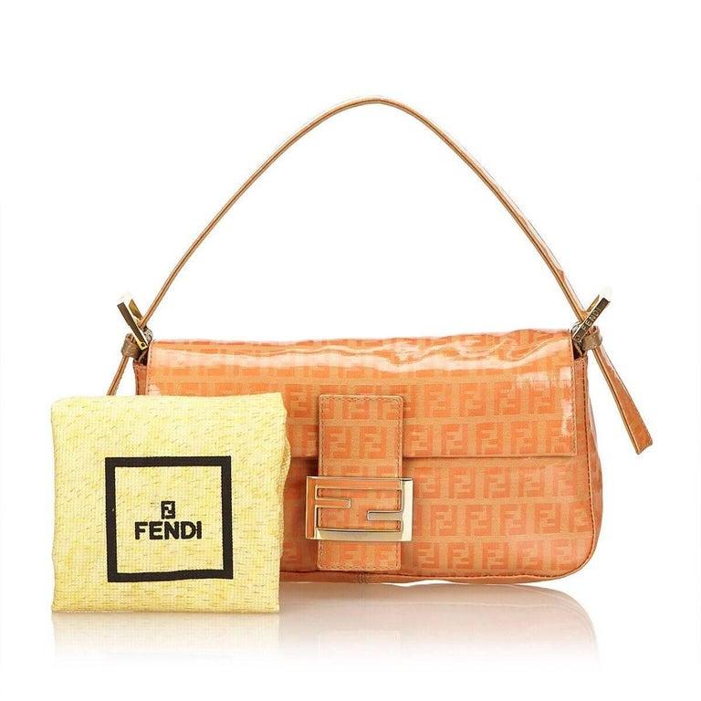 Orange Fendi Zucchino Mama Baguette Bag 3