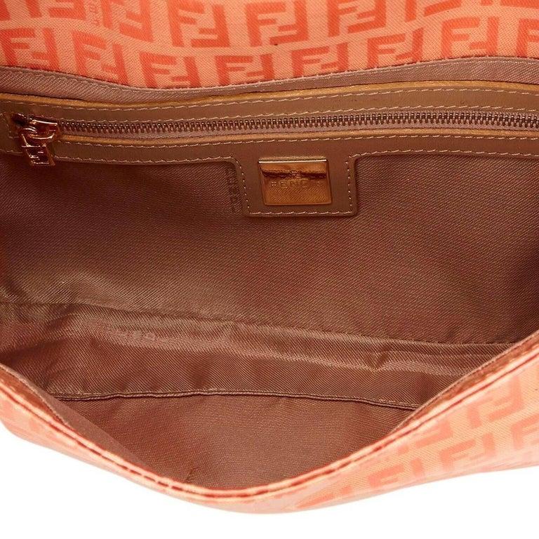 Women's Orange Fendi Zucchino Mama Baguette Bag