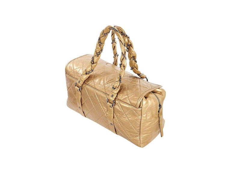 Metallic Gold Chanel Lady Braid Quilted Bag For Sale 1