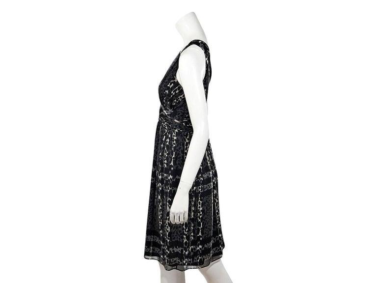 f3e5c858b2072 Product details  Grey leopard-printed silk dress by Burberry London. Deep v-