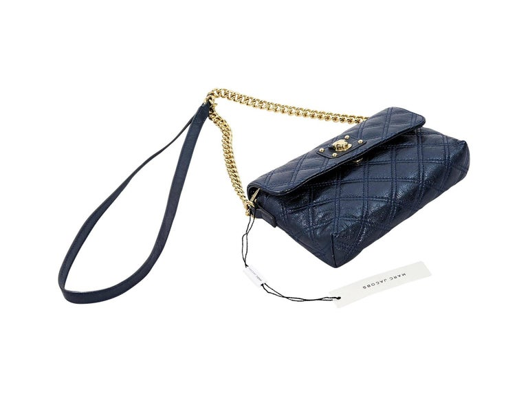 Black Metallic Blue Marc Jacobs Quilted Crossbody Bag For Sale