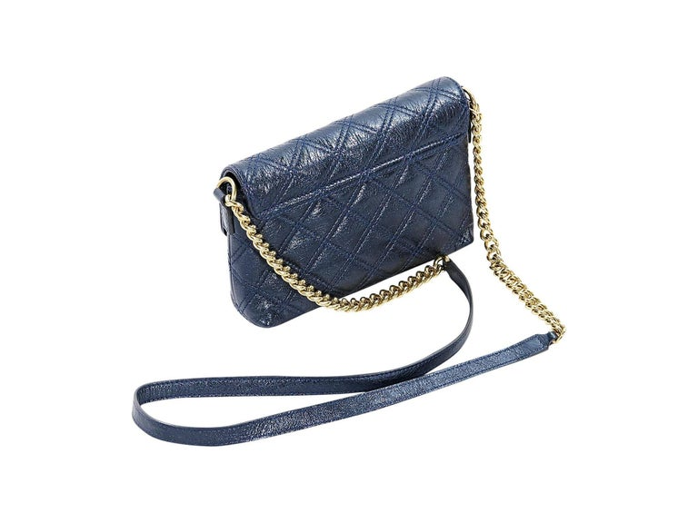 Metallic Blue Marc Jacobs Quilted Crossbody Bag In Excellent Condition For Sale In New York, NY