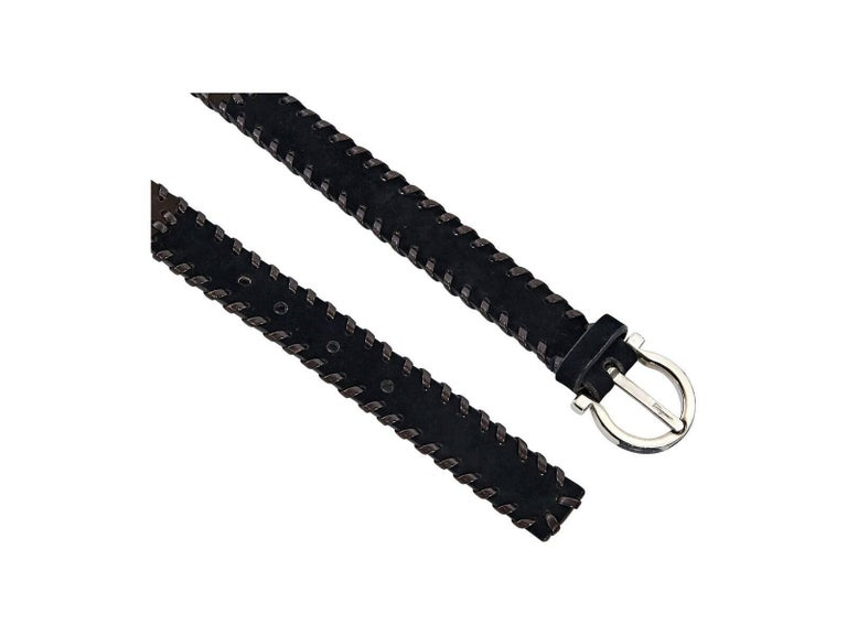 Black Brown Salvatore Ferragamo Suede Belt For Sale