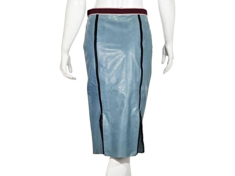 6ecca54ef559 Blue Miu Miu Leather Pencil Skirt For Sale at 1stdibs