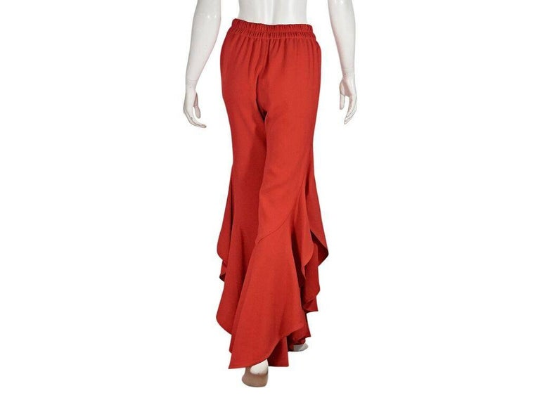 Red Jonathan Simkhai Flared Ruffle Pants In Good Condition For Sale In New York, NY