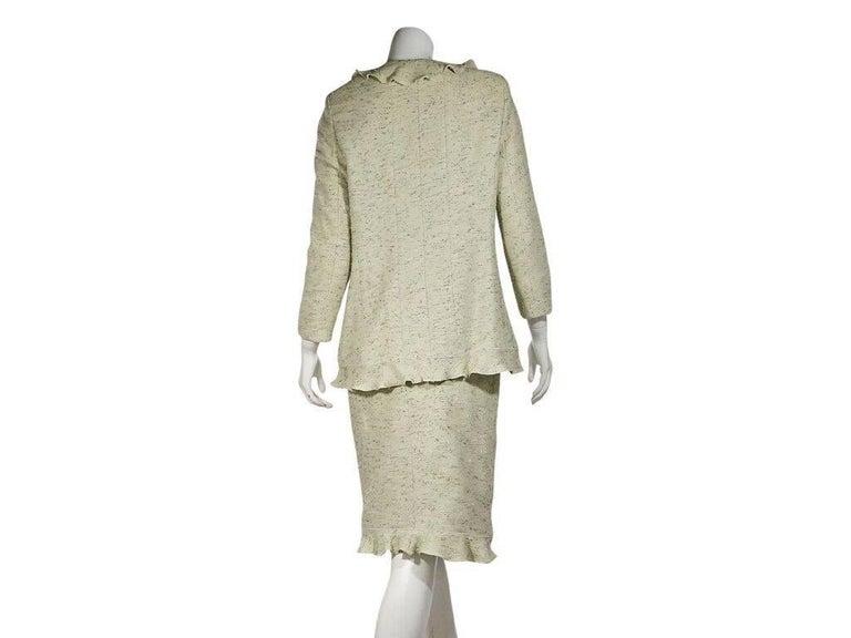 Beige Light Green Chanel Tweed Skirt Suit Set For Sale