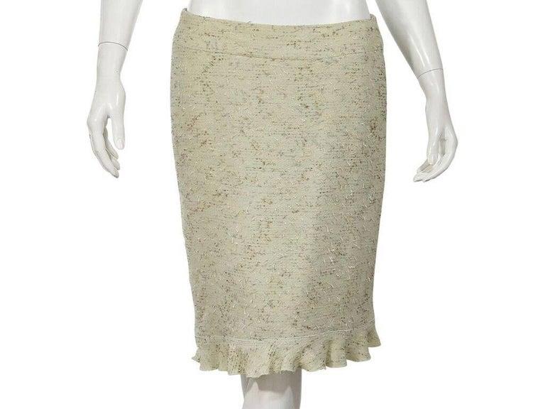 Women's Light Green Chanel Tweed Skirt Suit Set For Sale