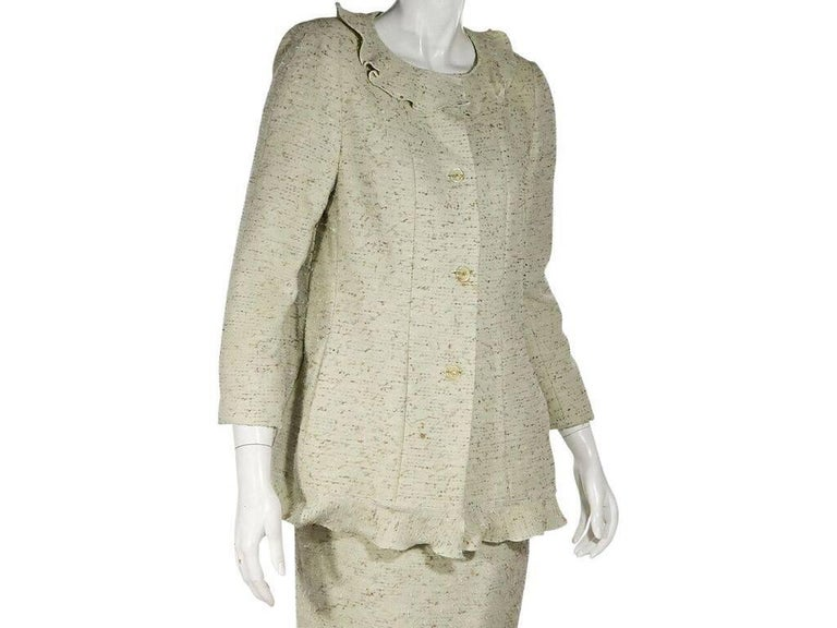 Light Green Chanel Tweed Skirt Suit Set In Good Condition For Sale In New York, NY