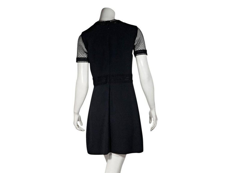 Black Elie Saab Mesh-Bodice Sheath Dress In Good Condition For Sale In New York, NY
