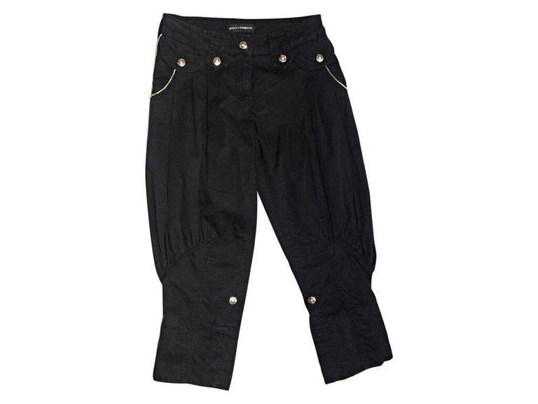 Black Dolce & Gabbana Cropped Harem Pants In Good Condition For Sale In New York, NY