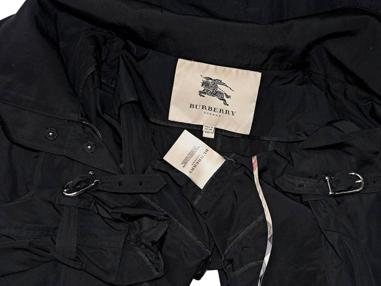 Women's Black Burberry London Hooded Trench Coat For Sale