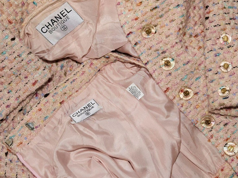 Multicolor Chanel Tweed Skirt Suit Set In Good Condition For Sale In New York, NY