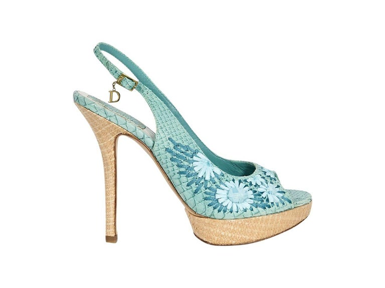 dc14cefe389 Teal Christian Dior Embossed Slingback Pumps In Good Condition For Sale In  New York
