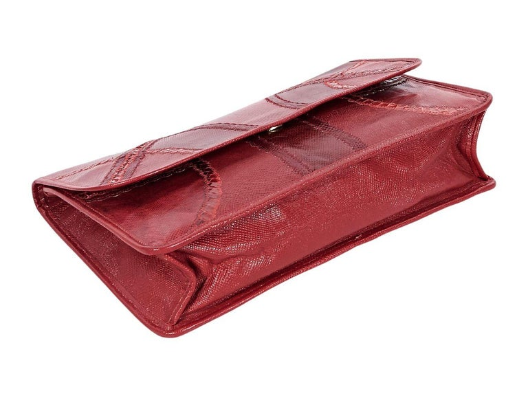 Brown Red Vintage Carlos Falchi Exotic Skin Clutch For Sale