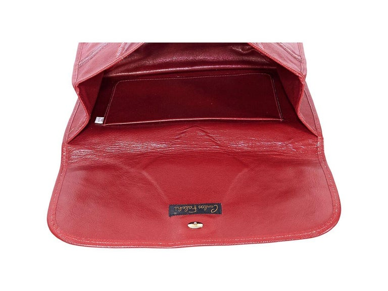 Red Vintage Carlos Falchi Exotic Skin Clutch In Good Condition For Sale In New York, NY
