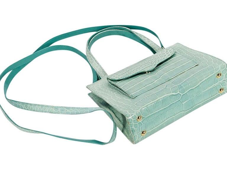 Gray Mint Green Lana Marks Crocodile Small Satchel For Sale