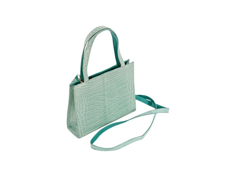 Mint Green Lana Marks Crocodile Small Satchel In Good Condition For Sale In New York, NY