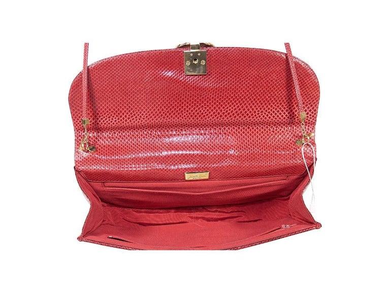 Women's Red Vintage Judith Leiber Embossed Leather Shoulder Bag For Sale
